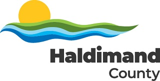 Haldimand County colour logo with sun, landscape and waterways